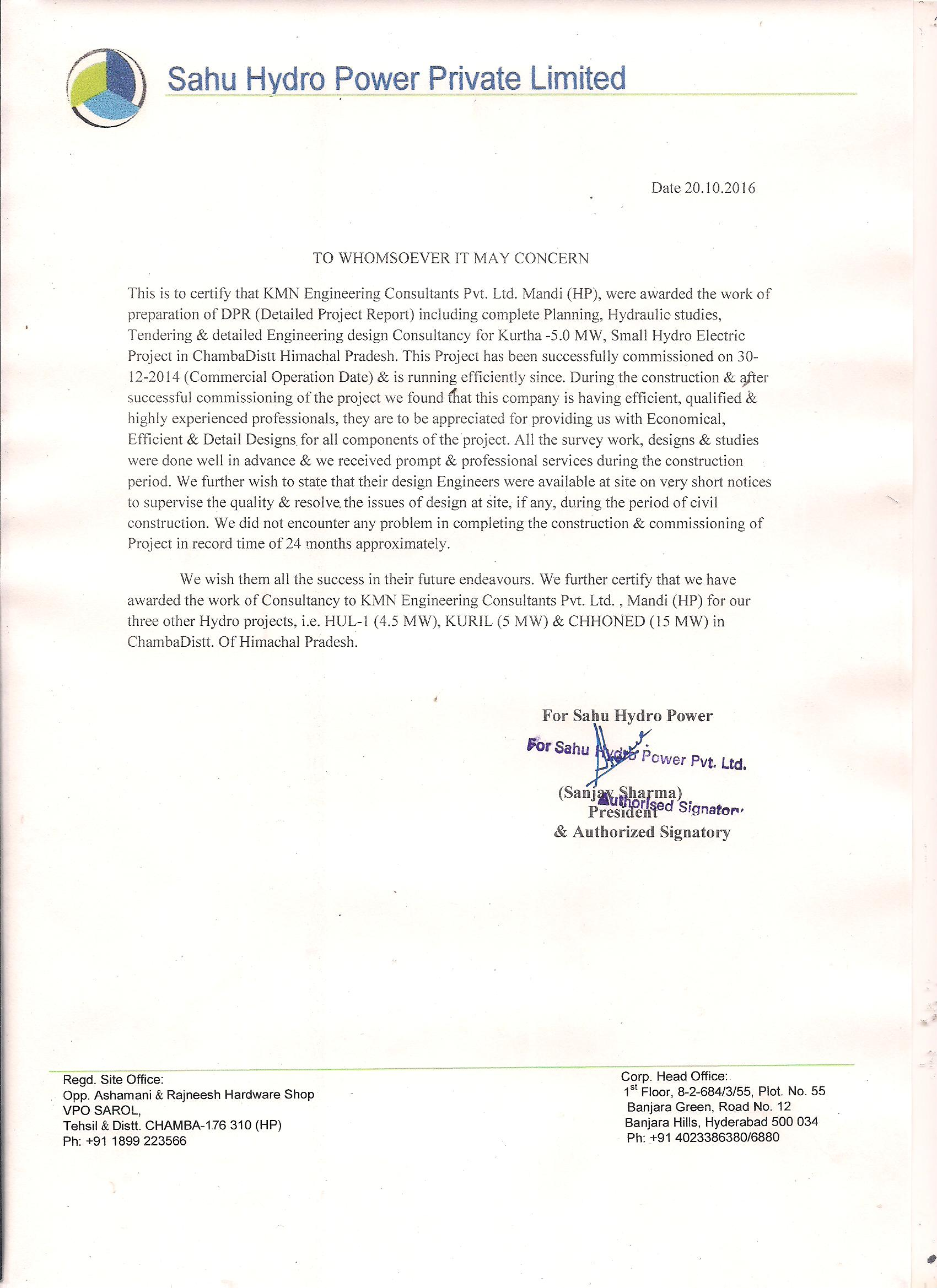 Kurtha appreciation certificate