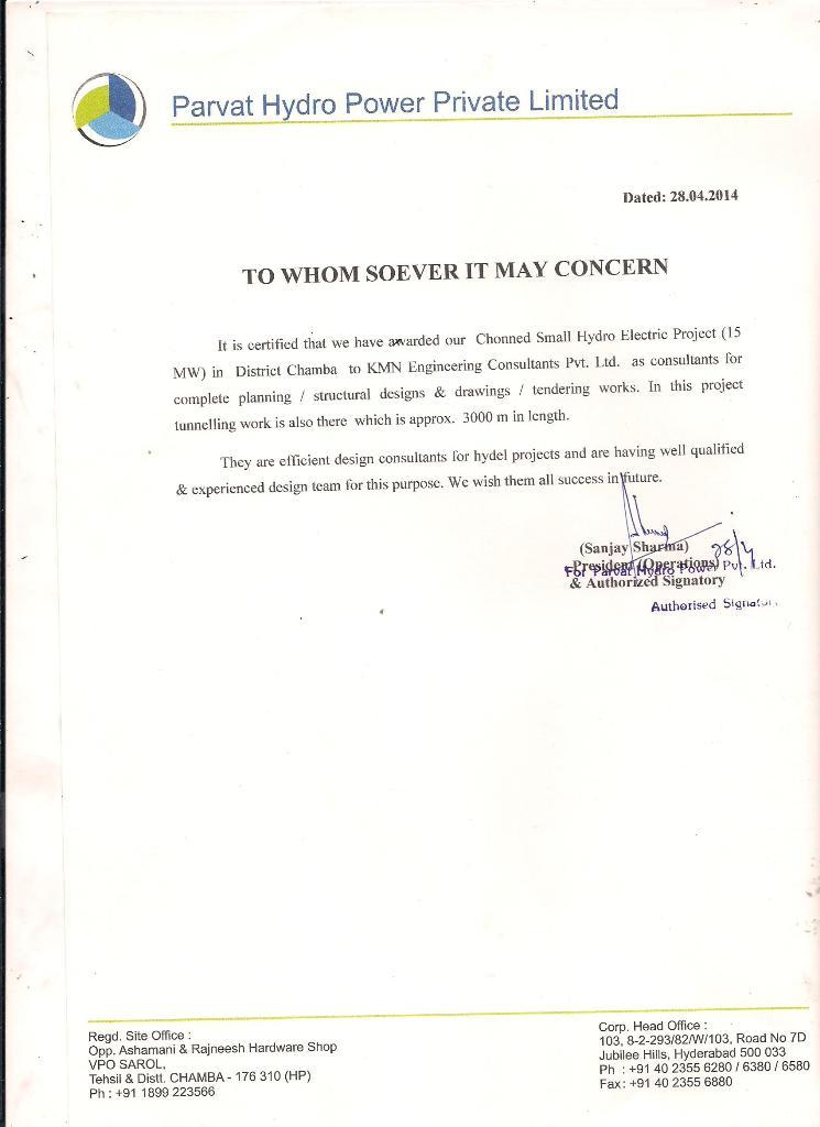 Parvat Experience Certificate 002