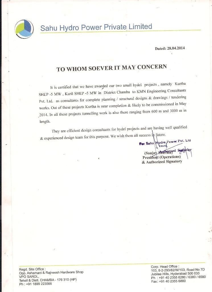 Sahu Experience Certificate